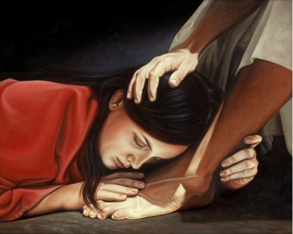 Mary anointing jesus feet